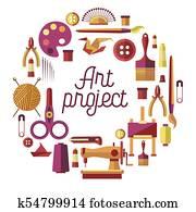 Creative art project vector poster for DIY handicraft and handmade craft workshop classes