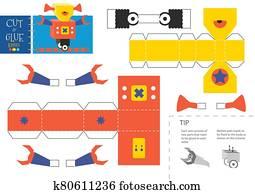Cut and glue robot toy vector illustration, worksheet.