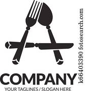 Letter A fork, Spoon and knife Logo