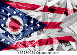 Ohio State Flag on cannabis background. Drug policy. Legalization of marijuana