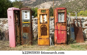 Old rusting gas pumps found in an antique store in New Mexico