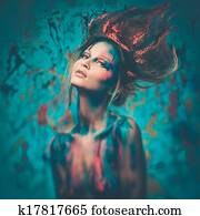 Young Woman Muse With Creative Body Art And Hairdo Stock Photo K17817637 Fotosearch