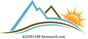 bergwelt, und, sonne, logo, image.
