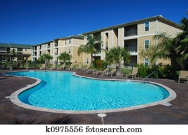 Swimimng pool and Apartment houses