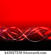Abstract waves background in red colors. illustration