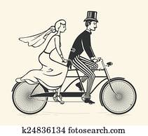 Bride and groom riding a bicycle