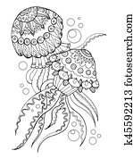 Jellyfish coloring book vector illustration