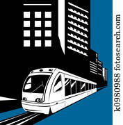 Light rail with buildings