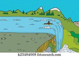 Man in Kayak at Waterfall