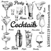 Set of sketch cocktails and alcohol drinks vector hand drawn illustration
