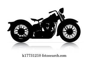 silhouette of classic motorcycle