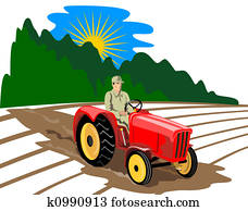 Farmer drving tractor
