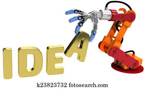Robot arm technology plan idea concept