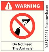 Do not feed the animals wildlife birds sign, vector illustration