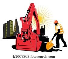 Excavator and worker
