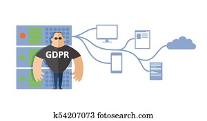 GDPR concept illustration. General Data Protection Regulation. The protection of personal data. Server and security guard. Vector, isolated on white.