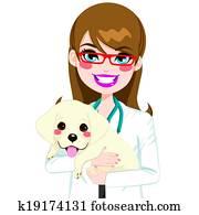 Veterinarian Hugging Puppy