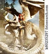 A female warrior with a dragon