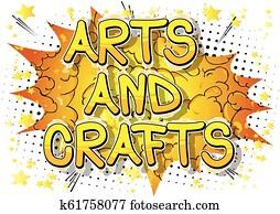 künste handwerke, -, vektor, illustriert, komisches buch, stil, phrase.
