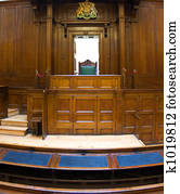 Very old courtroom (1854) with Judges chair at St Georges Hall, Liverpool, UK