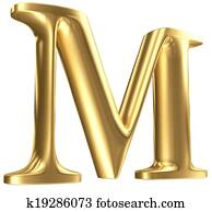 Golden matt letter M in perspective, jewellery font collection
