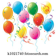 Party balloons and confetti on white