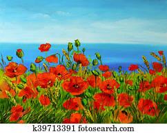 poppy field near the sea, colorful coast, art oil painting