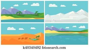 satz, von, natürlich, landschaftsbilder, in, flache