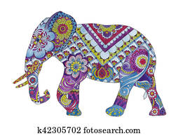 Elephant with oriental ornaments