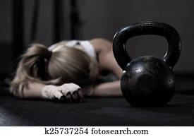 Girl after crossfit training