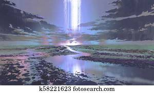 night scenery of waterfall in the sky