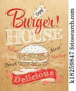 Poster lettering Burger House kraft