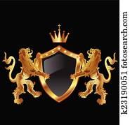 Shield with heraldic lions logo
