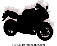 Silhouette motorcycle on