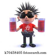 3d cartoon vicious punk rock character holding two glasses of drink