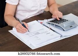 Accountant Calculating Bills