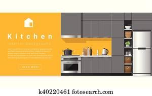 Interior design Modern kitchen background
