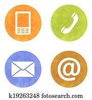 kontakt, tasten, satz, -, email,, envelope,, phone,, beweglich, heiligenbilder