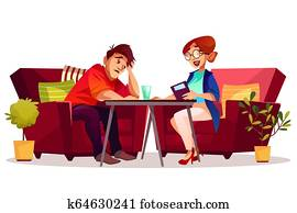 Psychologist patient therapy illustration