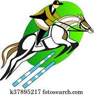 riding,, mann, auf, dass, pferd