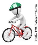 3D white people. Man riding bicycle