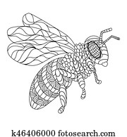 Bee coloring book vector illustration