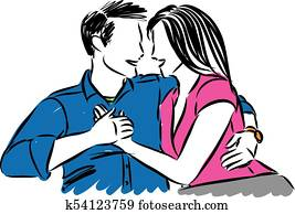 happy couple man and woman vector illustration