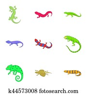 Different kind of lizards icons set, cartoon style