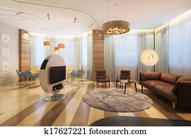 Large Luxury Family Room With TV