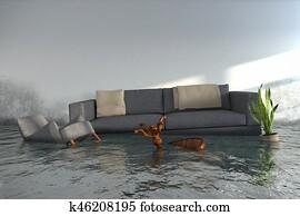 3d render - Water damager