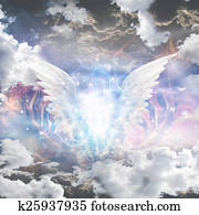 Angel wings pull apart seam of mortals to reveal