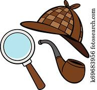 Detective Hat, Pipe, and Magnifying Glass