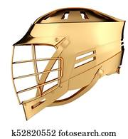 Golden Lacrosse helmet. Side view.