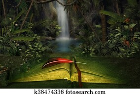 Illustration of an open book in the jungle